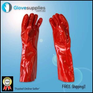 45cm Red PVC Gauntlet Chemical Resistant Glove - for more info go to glovesupplies.com.au