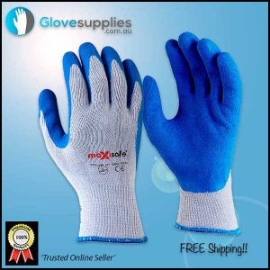 Blue High Grip Poly Cotton Work Glove - for more info go to glovesupplies.com.au