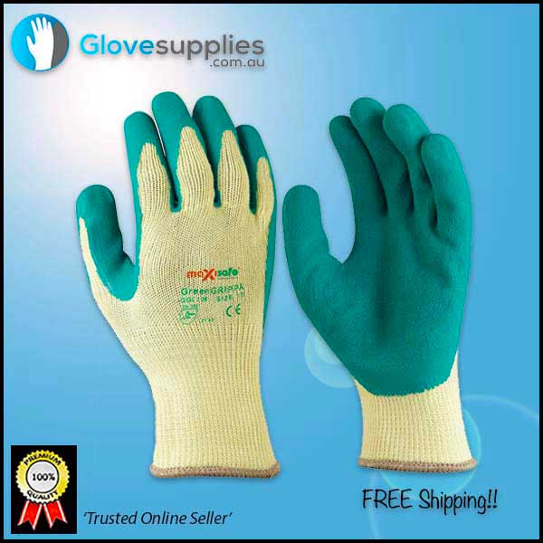 Green High Grip Poly Cotton Work Glove - for more info go to glovesupplies.com.au