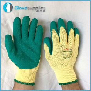 Green High Grip Poly Cotton Work Glove - for more info go to glovesupplies.com.au